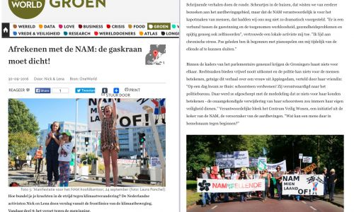 One World  September 2016 / Demonstration against gas at NAM's offices in Assen